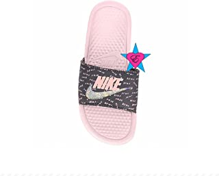 c292f6f224f3 Bedazzled Glitter Blush Just Do It Black Nike Benassi JDI Print Sport Slides