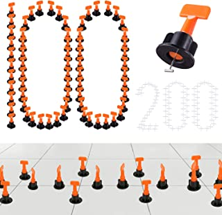 100PCS Premium Tile Leveling System Kits & 200PCS 2mm Tile Spacer, DIY Tiles Leveler Spacers with Wrench, ReusableFlooring Level Tile levellers, Wall & Floor Construction Tools By Tanek (100)