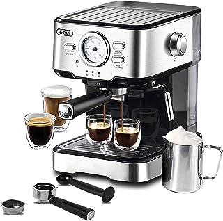 دستگاه قهوه ساز اسپرسو 15 بار پمپ فشار ، قهوه ساز اکسپرسو با چوب دستی بخار شیر ، قهوه ساز اسپرسو و کاپوچینو برای خانه Barista ، 1100W ، مشکی