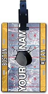 BleuReign(TM Personalized Custom Name Hockey Team License Plate Luggage Tag with Strap All Teams Available