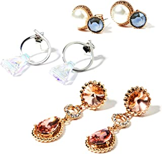 Delice N Delight Swarovski Earrings Collection Brass Gold Plating 3pcs Sets Box