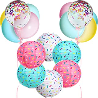 28 Pieces Ice Cream Balloons Set Donut Party Hanging Paper Lanterns Confetti Sprinkle Pattern Paper Lanterns 12 Inches Bal...