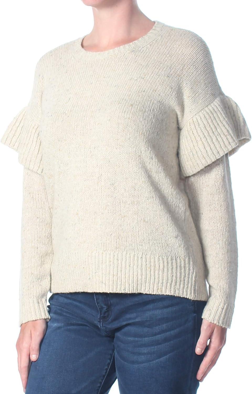 Ralph Lauren Womens Ruffle Long Sleeve Pullover Sweater, Beige, Medium
