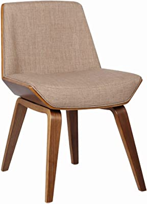 Benjara Fabric Mid Century Modern Wooden Frame Dining Chair, Beige, Brown