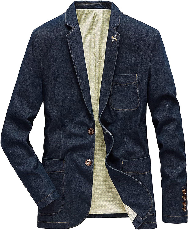 PEHMEA Men's Casual Slim Denim Blazer Two Button Lapel Washed Suit Jacket