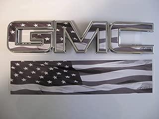 EmblemsPlus Black & White American Flag GMC Sierra 1500 Grille GMC Emblem Decal Overlay Vinyl Sheet Cut-Your-OWN Easy to Install DIY Fits 2014 Thru 2018.