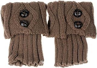 la Moda de Las Mujeres del Invierno Calentador de la Pierna del botón de Arranque de Punto de Ganchillo Calcetines Topper Manguito CO