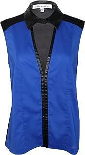 Robbi & Nikki Womens Faux Leather Collar Tank Cobalt Large