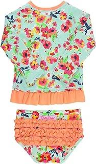 Baby/Toddler Girls Rash Guard 2-Piece Swimsuit Set - Long Sleeve Bikini with UPF 50+ Sun Protection