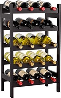 HOMECHO Bamboo Wine Rack, Floor Wine Storage Rack, 20 Bottles Holder, Freestanding Display Rack for Kitchen, Pantry, Cella...