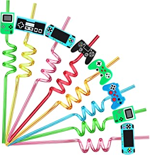 24 Video Game Party Favors Game Controller Drinking Straws Goodie Gifts for Kids Gamer Birthday Party Supplies, Game On Pa...