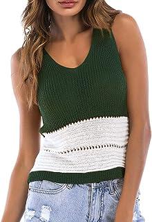 a8667f92f994 Sexy Women s Sleeveless Sling Hollow V-Neck Colorblock Knit Tank