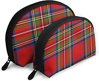 Royal Stewart Tartan Seamless Pattern Customized Portable Bags Clutch Pouch Storage Bag Cosmetic Bag Purse Travel Storage Bag Shell Shape One Big And One Small For Women