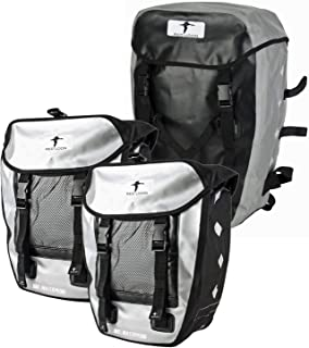 Red Loon 3er Set 2 x robuste Fahrradtasche aus LKW-Plane 1 x Fahrrad-Rucksack – wasserdichte Doppelpacktasche  Rucksack in Silber