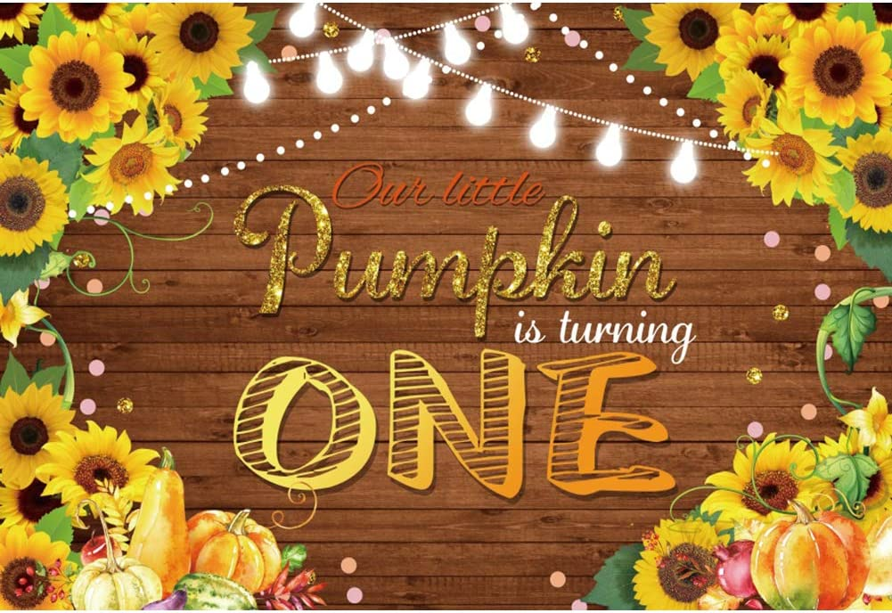 Haoyiyi 5x3ft Our Pumpking is Turing One Backdrop Background Sunflower Green Leaves Light Shiny Gold Dots Photography Child First 1st Birthday Party Cake Smash Table Photo Booth Props