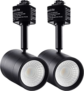 LEONLITE 2-Pack 8.5W (50W Eqv.) Integrated CRI90+ LED Black Track Light Head, Dimmable 38° Spotlight Track Light, 550lm Energy Star & ETL Listed for Wall Art Exhibition Lighting, 4000K Cool White