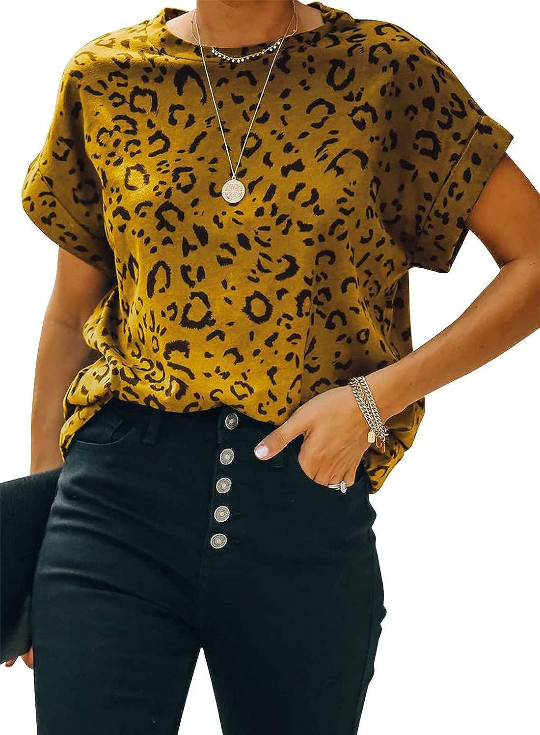 FRMUIC Women's Summer Short Sleeve Printed Round Neck T Shirt Basic Blouse Loose Fashion Top
