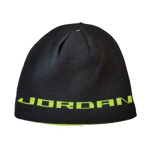 NIKE Jordan Jumpman Boys Reversible Knit Hat Black Volt Youth 8 20 b6cb2b146a4