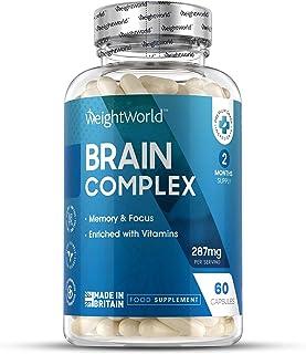 Nootrópico Natural Brain Complex 60 Cápsulas | Suplemento Para el Cerebro. Complejo Multivitaminas y Minerales Con Tirosina. Teanina. Taurina. Para Concentración y Memoria Reduce Cansancio y Fatiga