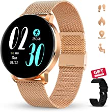 Smartwatch for Women GOKOO Smartwatches with Heart Rate Sleep Monitor All-Day Activity Tracker Steps Distance Calories Bur...