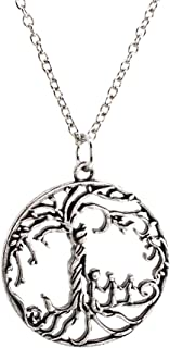 Mom & 3 Child 'Tree of Life' Hollowed-Out Pendant Necklace [Antique Silver]