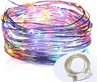 100 LED 33ft/10m Starry Fairy String Light, Waterproof Decorative Copper Wire Lights for Indoor, Bedroom Festival Christmas Wedding Party Patio Window with USB Interface(Multi Color) (Multi Color)
