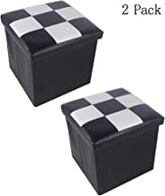 Lhh Faux Leather Folding Suqare Storage Ottoman Cube for Kids Foot Rest Stool Seat 12inch,Black and White