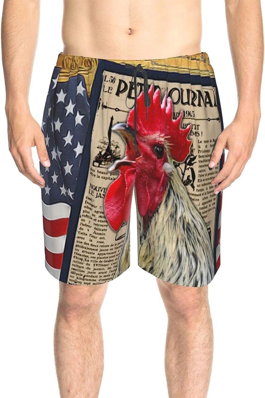 Mens Swim Trunks Vintage Newspaper Rooster Swim Short Boardshort Drawstring Elastic Summer Boardshorts with Lining