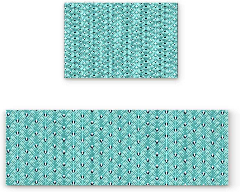Shine-Home 2 Piece Non-Slip Kitchen Mat Rubber Backing Doormat Runner Rug Set, Kids Area Rug Carpet Bedroom Rug Teal Green Geometric Flowers Leaves Image 19.7''x31.5''+19.7''x63''
