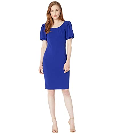 Calvin Klein Puff Short Sleeve Sheath Dress (Ultramarine) Women