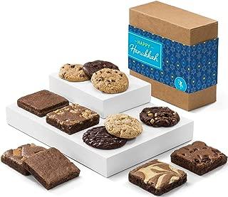Fairytale Brownies Hanukkah Cookie & Brownie Combo Gourmet Chocolate Kosher Food Gift Basket - 3 Inch Square Full-Size Brownies And 3.25 Inch Cookies - 12 Pieces - Item CK313