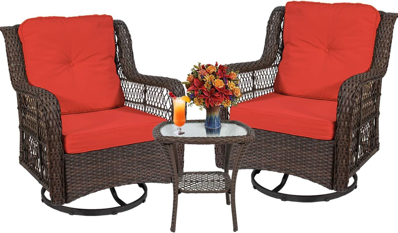 Wicker Swivel Rocker Patio Furniture Outdoor S Conversation Sets Popular Austin Mall overseas