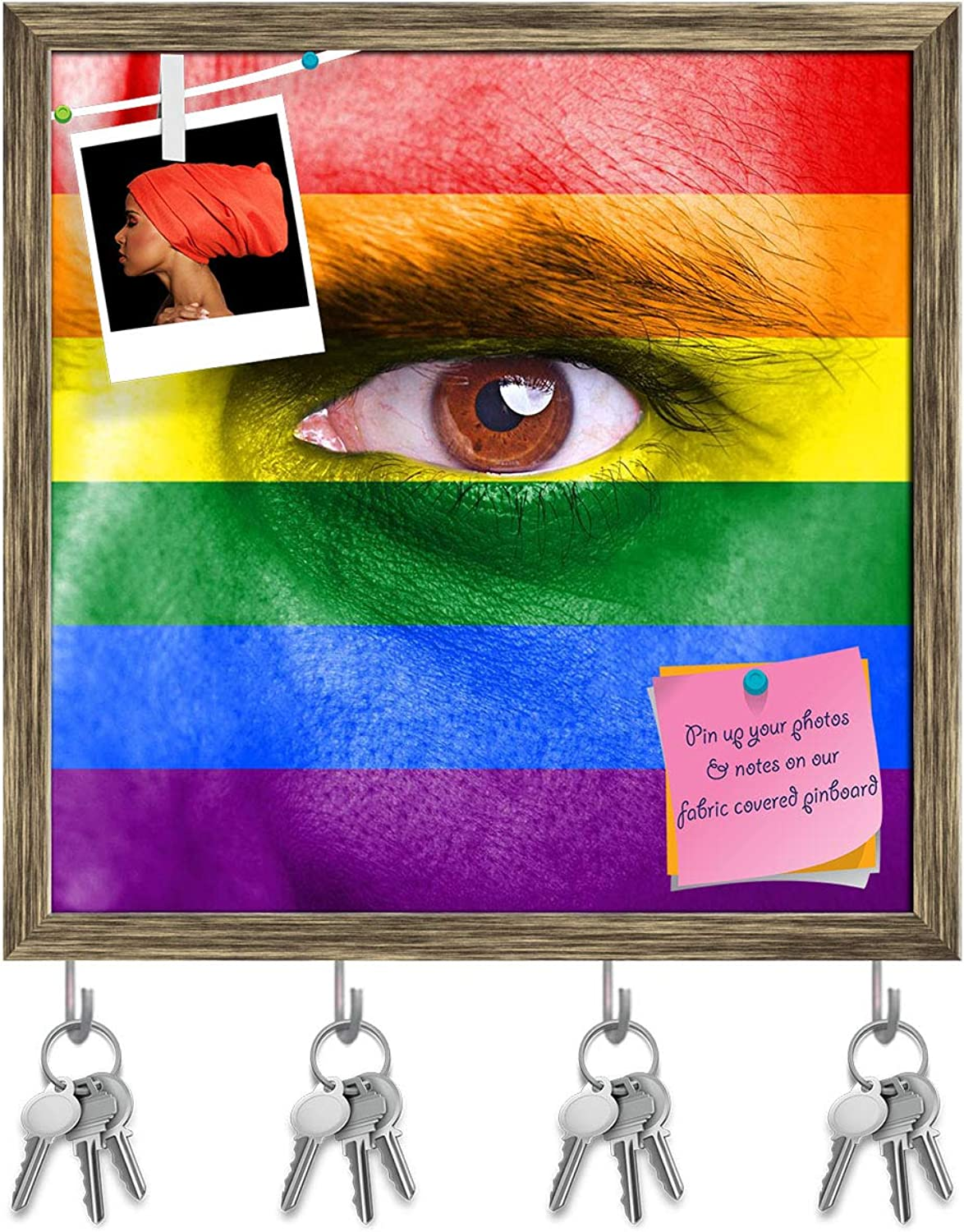 Artzfolio Rainbow Flag Painted On Human Face Key Holder Hooks   Notice Pin Board   Antique golden Frame 20 X 20Inch