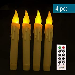 """Furora LIGHTING 7"""" Taper Flameless Led Candles - Flickering Tapered Candles Battery Operated, Remote Control Candlesticks with Timer Featured - Pack of 4"""
