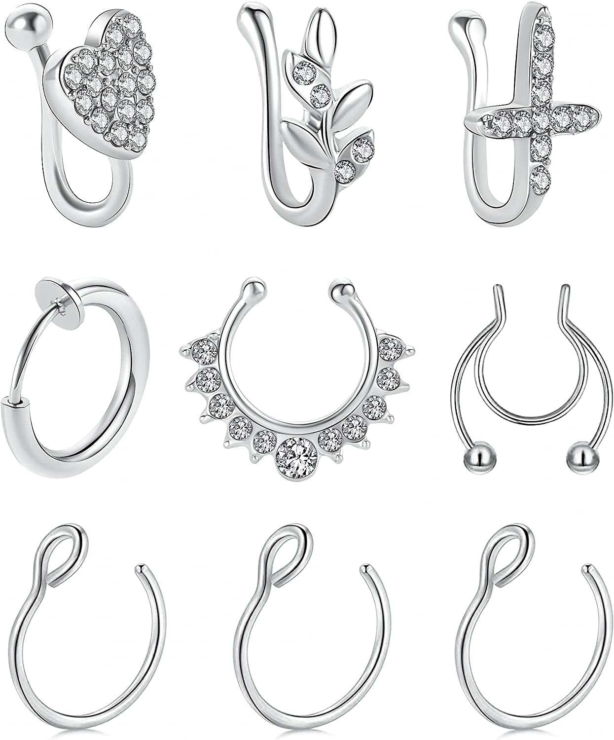 MOROTOLE Fake Nose Rings Magnet Septum Ring Faux Magnetic Septum Nose Ring 16G 316L Surgical Steel Non-Piercing Horseshoe Septum Nose Rings