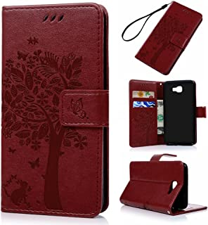 Badalink J5 Prime Case,Galaxy J5 Prime Case - Wallet Case Folio Stand Case 3D Embossed Tree PU Leather Case Shockproof TPU Inner Bumper Card Slots Hand Strap Slim-Fit Protective Cover Red
