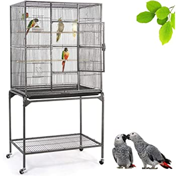 YAHEETECH Wrought Iron Rolling Large Bird Cage for African Grey Small Quaker Amazon Parrots Cockatiels Sun Parakeet Green Cheek Conure Lovebird Budgie Finch Canary Bird Flight Cage with Stand