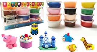 Toycamp Non Toxin Air Dry Creative Modeling Clay Bucket With Assorted Colors Ultra Light Molding Magic Clay 12 Bright Color Creative DIY Crafts