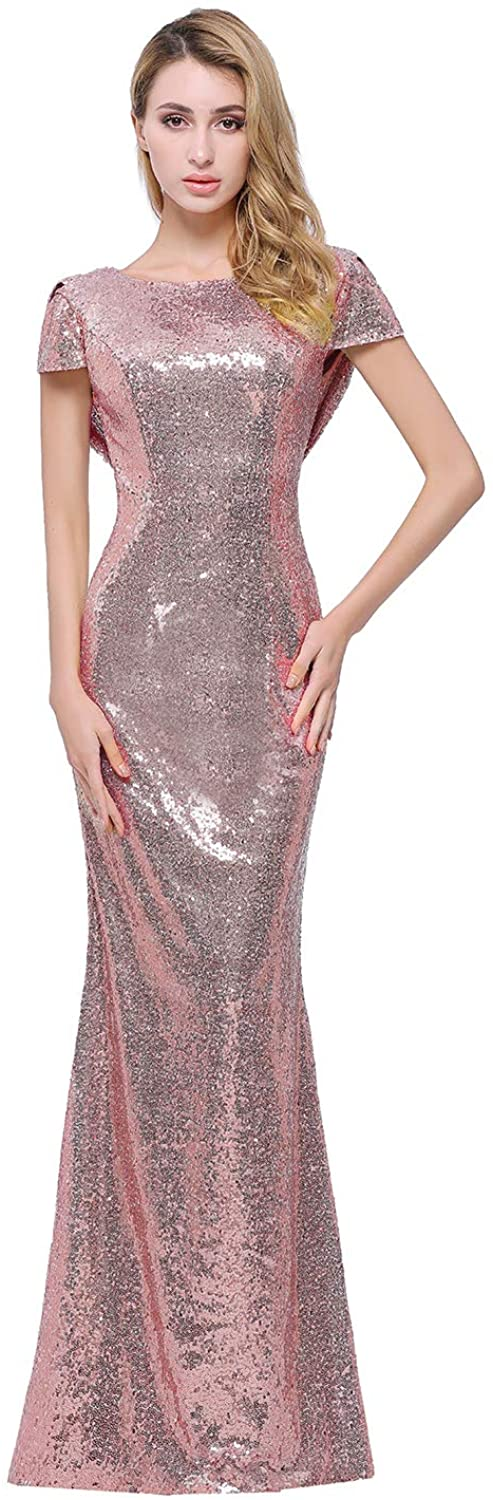 Sparkly Rose Gold Sequins Bridesmaid Dresses Modest Long Prom Evening Gowns