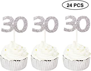 24 PCS 30th Cupcake Toppers - Anniversary or Birthday Cupcake Picks Party Decoration Supplies | Silver 30th