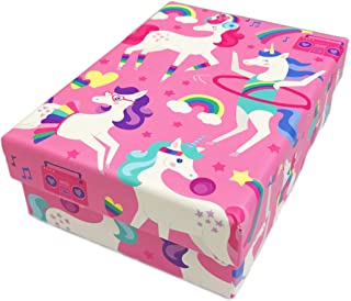 Clementine Playful Hula Hooping and Dancing Unicorns & Rainbows Small Storage Gift Box (Pink)