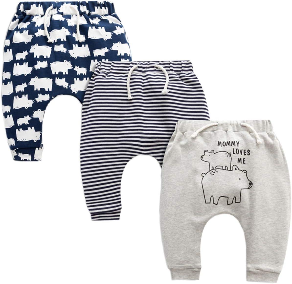 24-36 Mois Lot de 3 Pantalons B/éb/é Coton Leggings Fille Culottes pour B/éb/é Sarouel
