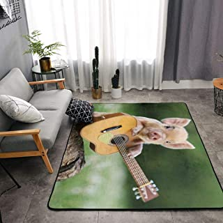 NiYoung Memory Foam Kitchen Rug for Living Room Kid Rooms Dorm Room, Non-Slip Backing Doormat Floor Mat Super Soft Throw Rugs Carpet, Anti Fatigue, Pig Playing Guitar Green