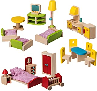 Dragon Drew Wooden Dollhouse Furniture Set - 27 Piece Kit - Living Room, Bedroom and Kitchen Accessories, 100% Natural Woo...