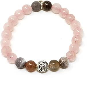 Larimar Accessories | 8mm Mala Beads Bracelet | Mala Gemstone Bracelet | Mala Yoga Bracelet | Mala Prayer Bracelet | Mala Meditation Beads Bracelet | (Rose Quartz & Botswana)