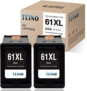 TEINO Remanufactured Ink Cartridge Replacement for HP 61XL 61 XL for Envy 5530 4500 4502 5535 OfficeJet 4630 4635 4632 DeskJet 2540 1010 3050a 2542 2549 3510 2541 2548 1055 1512 (Black, 2-Pack)