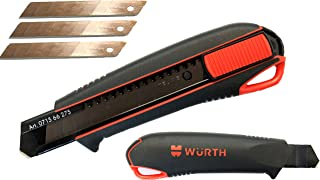 MADE IN GERMANY Box Cutter Utility Knife 2-Component Cutter 18mm with 3 extremely sharp TAJIMA break - off blades and comfortable ergonomic rubber handle