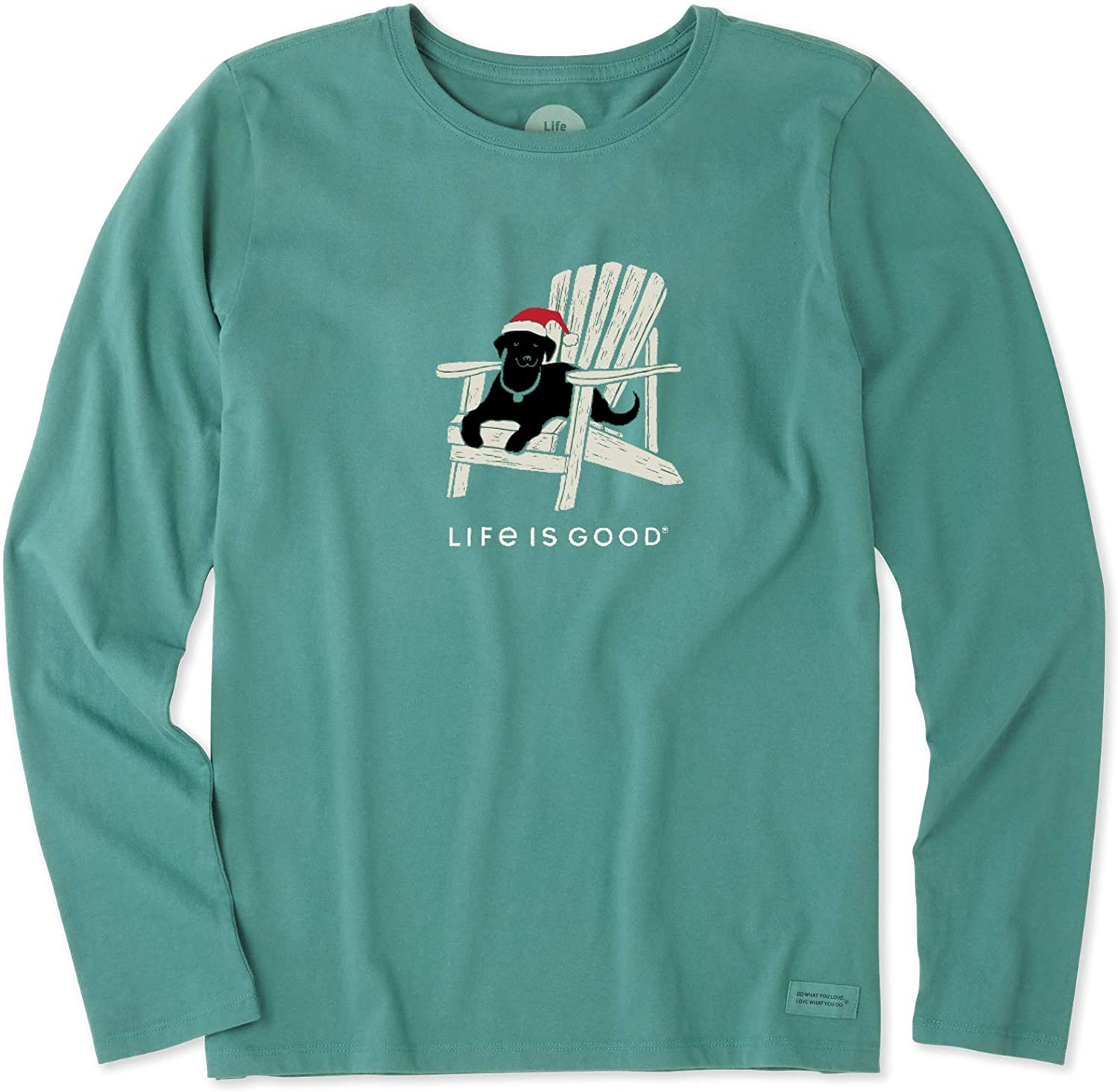 Life is Good Women's Long Sleeve Winter Dog Days Crusher Tee, Forest Green