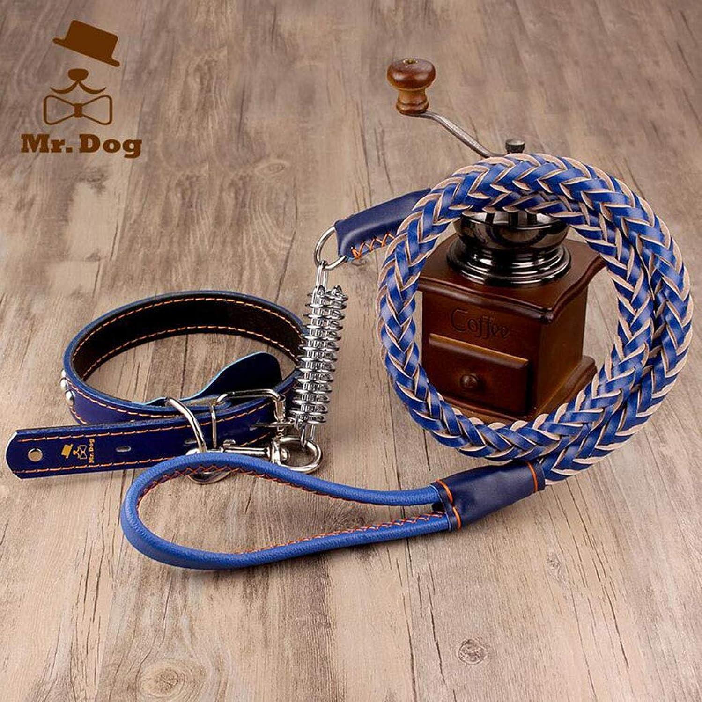 Dog Leash, Medium Large Dog Leash, golden Labrador Leather Collar, Hyena Rope, Dog Chain Supplies,bluee