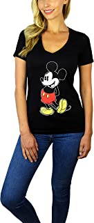 Womens Mickey Mouse Stand V-Neck Tee